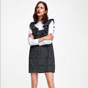 ZARA Contrasting Check Dress w Layered Shirt